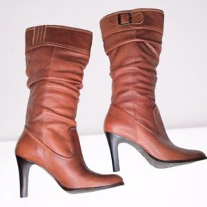 Matisse Kasha Brown Leather Heeled Slouch Boots